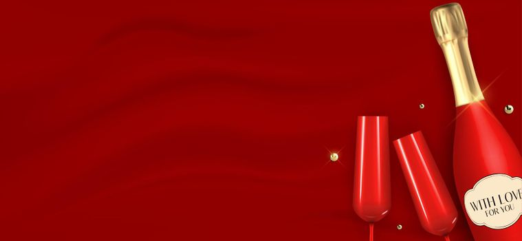 Realistic 3D champagne Red Bottle and Glasses on silk background. Vector Illustration