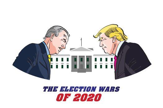 Donald Trump Versus Joe Biden, Presidential candidates for 2020 American Elections vector illustration.
