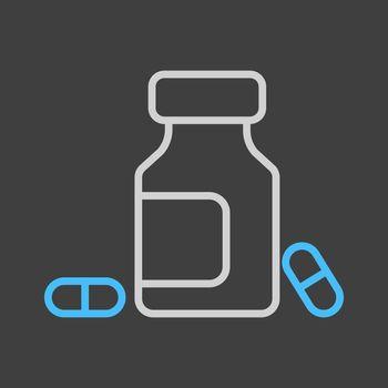 Medicine bottle and pills vector icon on dark background. Medicament