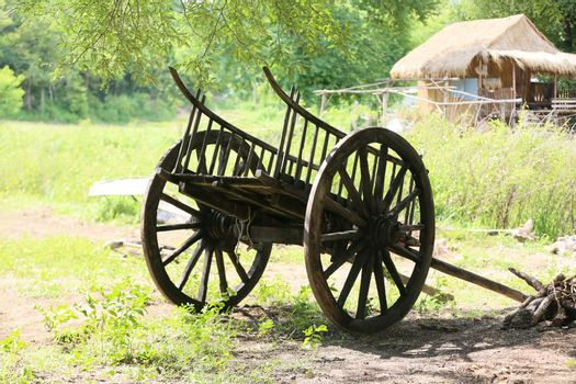 Old wooden wagon at rural field.