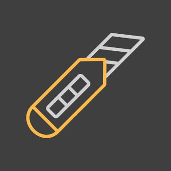 Construction utility knife vector isolated flat icon on dark background