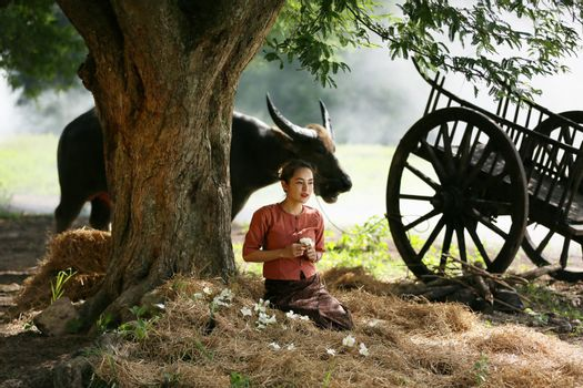 Asian woman wearing traditional thai culture, in field, vintage style listening radio on buffalo and farm background