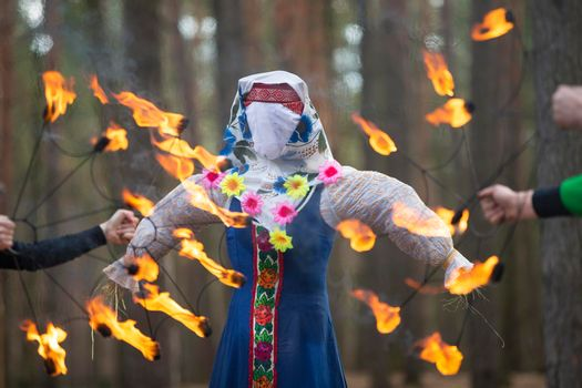 Burning straw stuffed carnival, a symbol of winter and death in Slavic mythology, pagan tradition. Religious and folk festival of the East Slavic people.