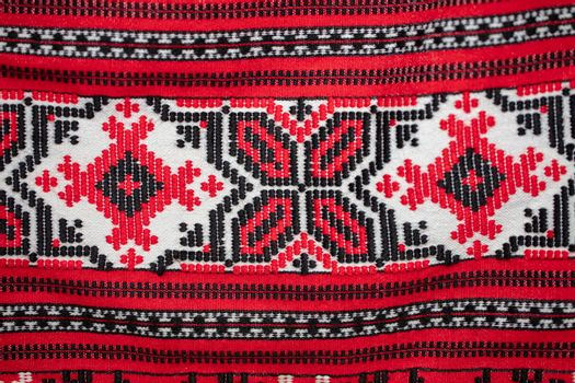 Slavic rushnyks. Canvases of fabric with national Belarusian Russian Ukrainian pattern. Embroidery.