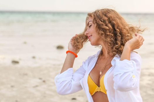 Woman enjoy vacation on beach