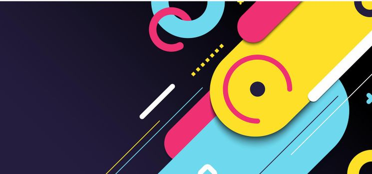 Abstract banner web template geometric elements rounded diagonal line bright color on black background