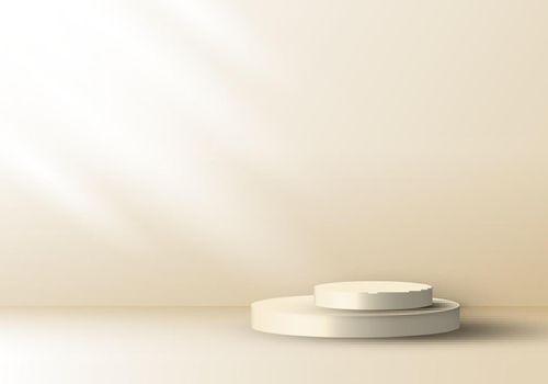 3D realistic cream color geometric round shape stacked podium with side lighting mockup minimal scene background