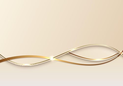 Abstract luxury 3d background golden line on wave shape paper cut style
