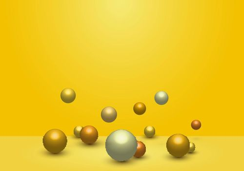 3D dynamic 3d spheres glossy balls on yellow studio room background