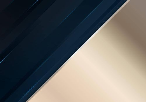 Abstract dark blue diagonal stripes layered with lighting effect and golden background