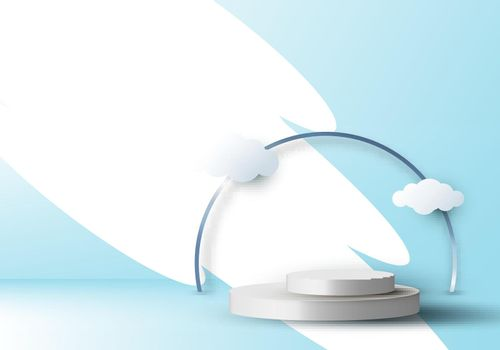 3D realistic empty white round pedestal mockup with cloud paper cut on blue sky background.