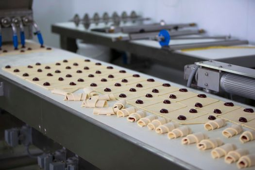 Industrial line for baking cookies. Wholesale professional production of culinary products