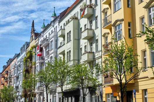 Colorful renovated old apartment buildings