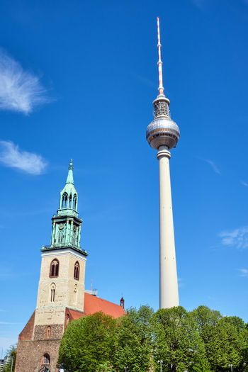 The famous TV Tower and the Marienkirche at Alexanderplatz
