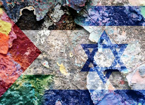 Palestine confrontation with Israel. Concept of flags. War and military. Grunge vintage cracks retro style