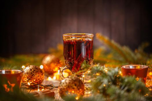 Warm red mulled wine
