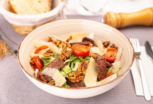 Juicy beef sirloin steak salad