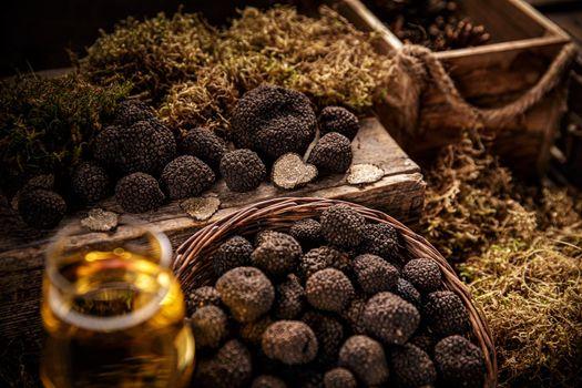 Black truffle still life