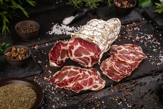 Slices of appetizing coppa