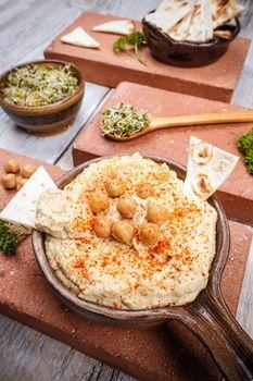 Hummus seasoned with paprika