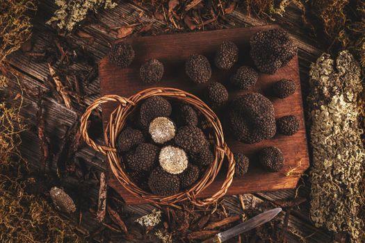 Flat lay of black truffles mushrooms