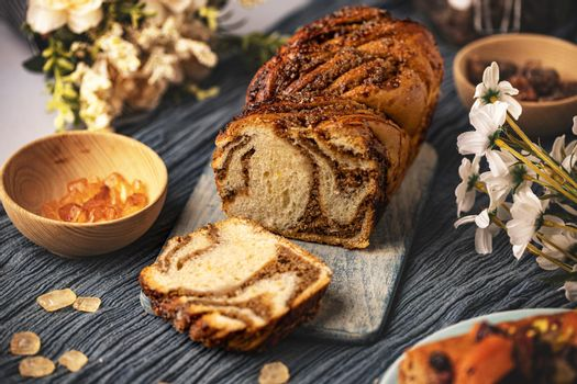 Sweet swirl bread walnut babka