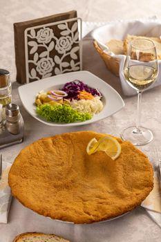 Giant veal viennese schnitzel