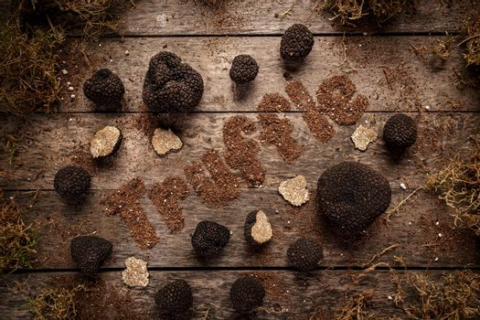 Expensive rare black truffle mushroom