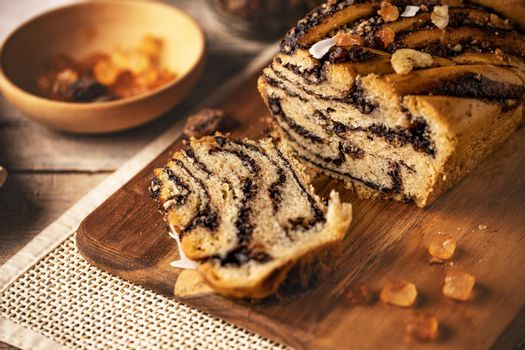 Traditional Polish vegan babka cake