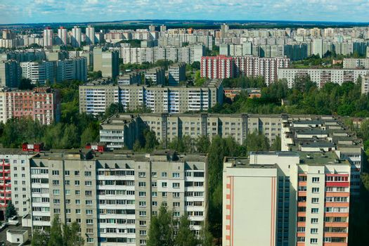 Area of panel houses.High-rise buildings.Russian cities