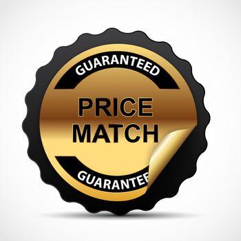 Price Match Guarantee Gold Label Sign Template Vector Illustratio