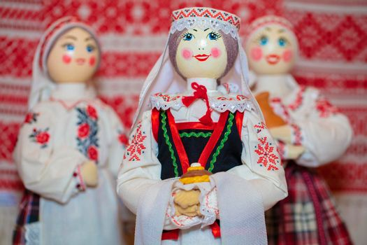 Slavic national dolls. Belorussian Ukrainian Russian ethnic dolls. Lyalka in an embroidered shirt with bread and salt.
