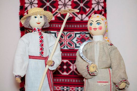 Slavic national dolls. Belorussian Ukrainian Russian ethnic dolls. Lyalka is a man and a woman in an embroidered shirt.