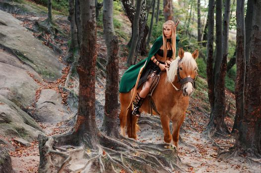 Female elf in the forest with her horse