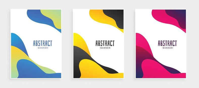 abstract fluid shape modern banners set