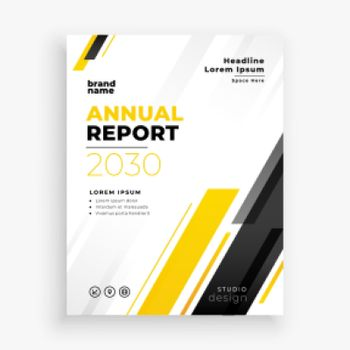 banr annual report brochure flyer in yellow theme