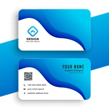 blue company business card wavy template