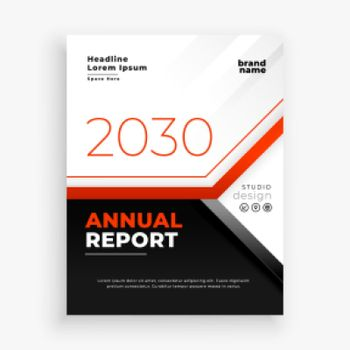 company annual report business flyer in red theme