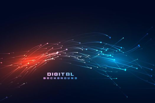 digital flowing particles technology background