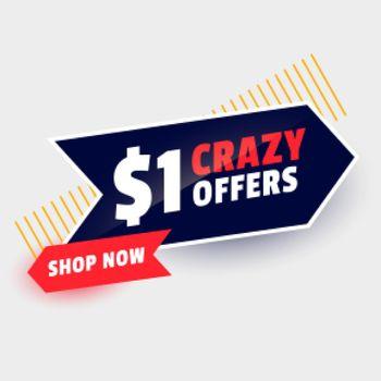 dollar one crazy sale offer banner