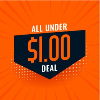 under dollar one deal and sale background