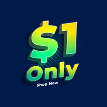 dollar one only sale banner