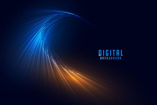 flowing digital particle lines technology background