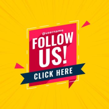 follow us banner in chat bubble style