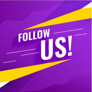 follow us purple banner design