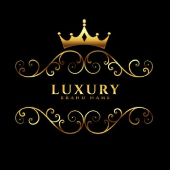 luxury logotype concept with golden crown
