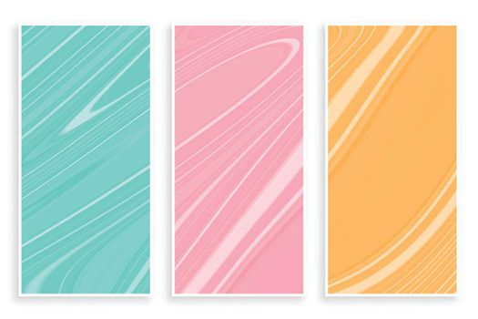 pastel color marble texture banners set