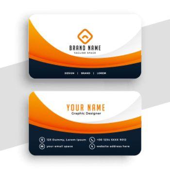 professional orange business calling card design