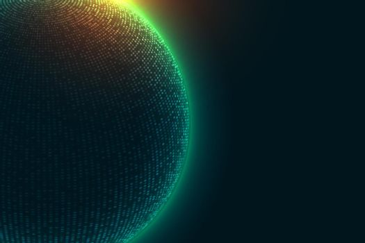 technology particle sphere with glowing lights background