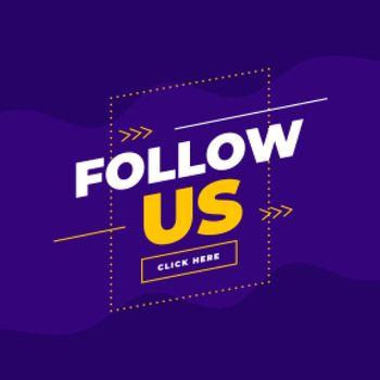 trendy follow us template in purple background